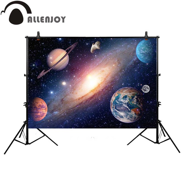 Allenjoy Space starry sky photography backdrop planet colorful stars playground new background photobooth photocall photo studio