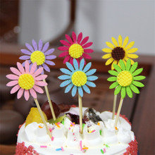 3 pcs Happy Birthday Cake Topper Flags Party Sunflower Cupcake  Wedding Decoration Supplies