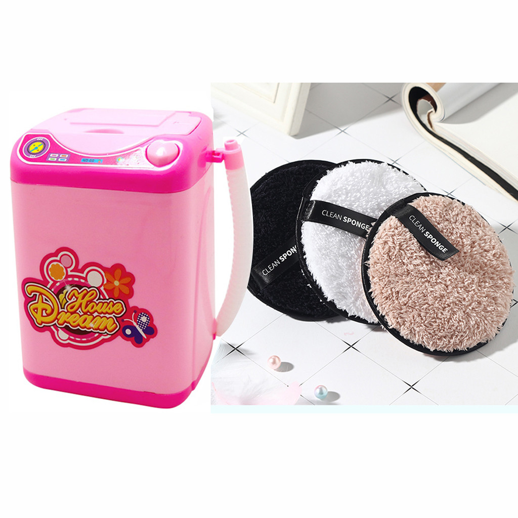 Makeup Brush & Cleansing Cleaner Device Automatic Cleaning Washing Machine Pink Makeup Tool Washer Makeup Cleaner Tool + Puff