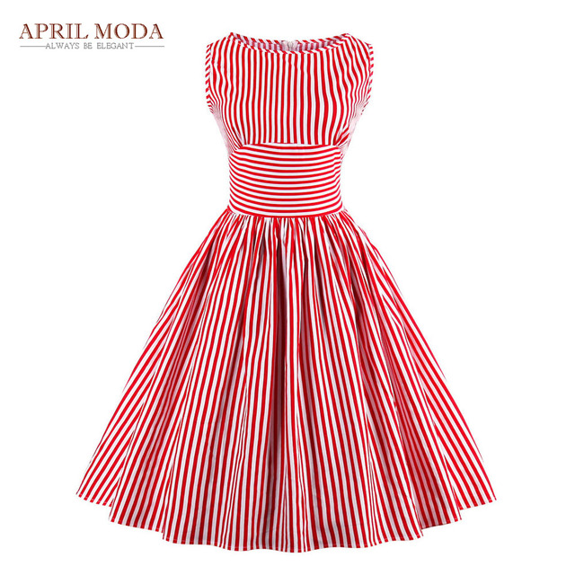 Plus Size Sleeveless Striped 50s Dress Summer Style Casual Sexy ...