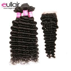 Eullair волосы индийские глубокие пучки волнистых волос переплетения с 4*4 синтетическое закрытие волос 4 шт. Швейцарский Remy человеческие