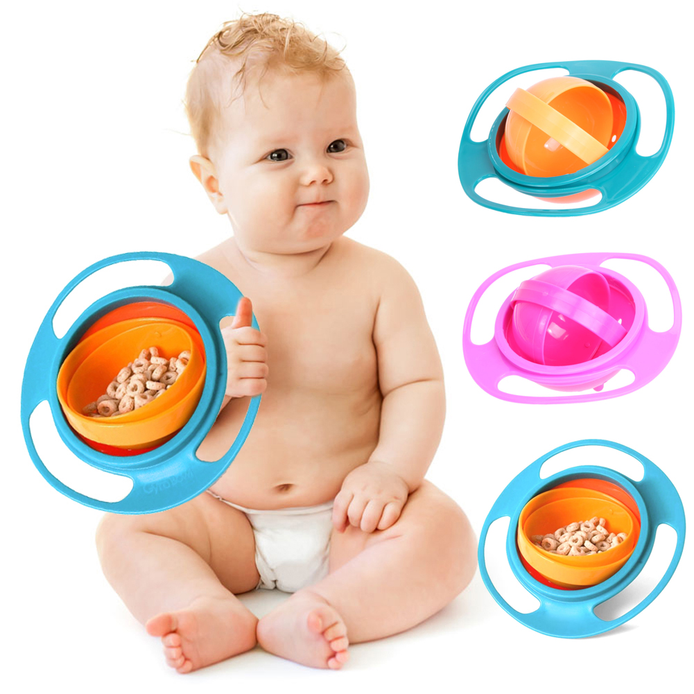 Baby Feeding Learning Dishes Bowl Children Universal 360 Rotate Spill-Proof Bowl Dishes  ...