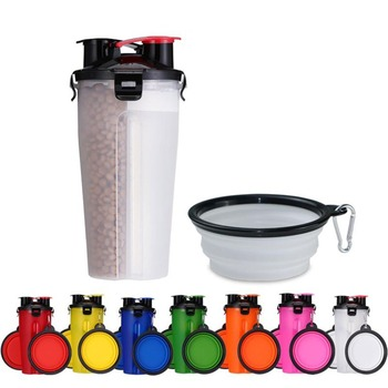 2 In 1 250ML Dogs Cats Feeding Feeder 350ML Dog Drinking Water Bottle Outdoor Travel Dual Purpose Food Storage Brings Two Bowls