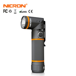 NICRON 90 Degrees Twist LED Flashlight Handfree Waterproof IP54 300 Lumens 5000CD Magnet LED Torch Light For Maintenance etc N72