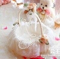 Bridal White Lace Decorated Flower Girl Wedding Basket Wedding Shopping Basket Accessories Cestas De Casamento Free