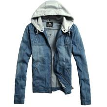 2019 Fashion New Mens Casual Hooded Removable Denim Jacket / Mans cowboy coat large size M-5XL
