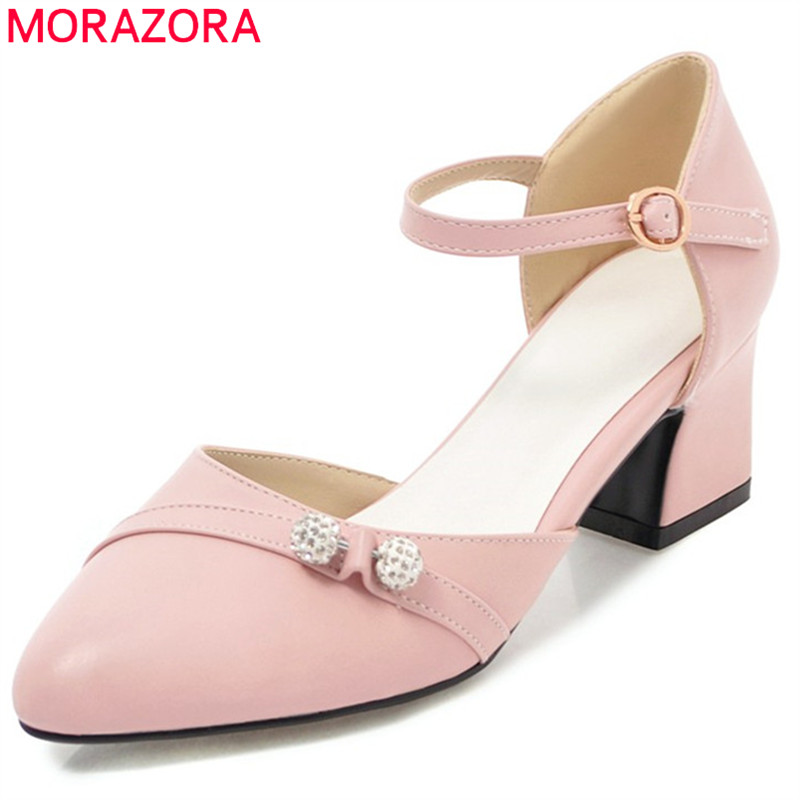 MORAZORA new pointed toe pumps women shoes with crystal buckle square heels high heel party wedding shoes female shoes