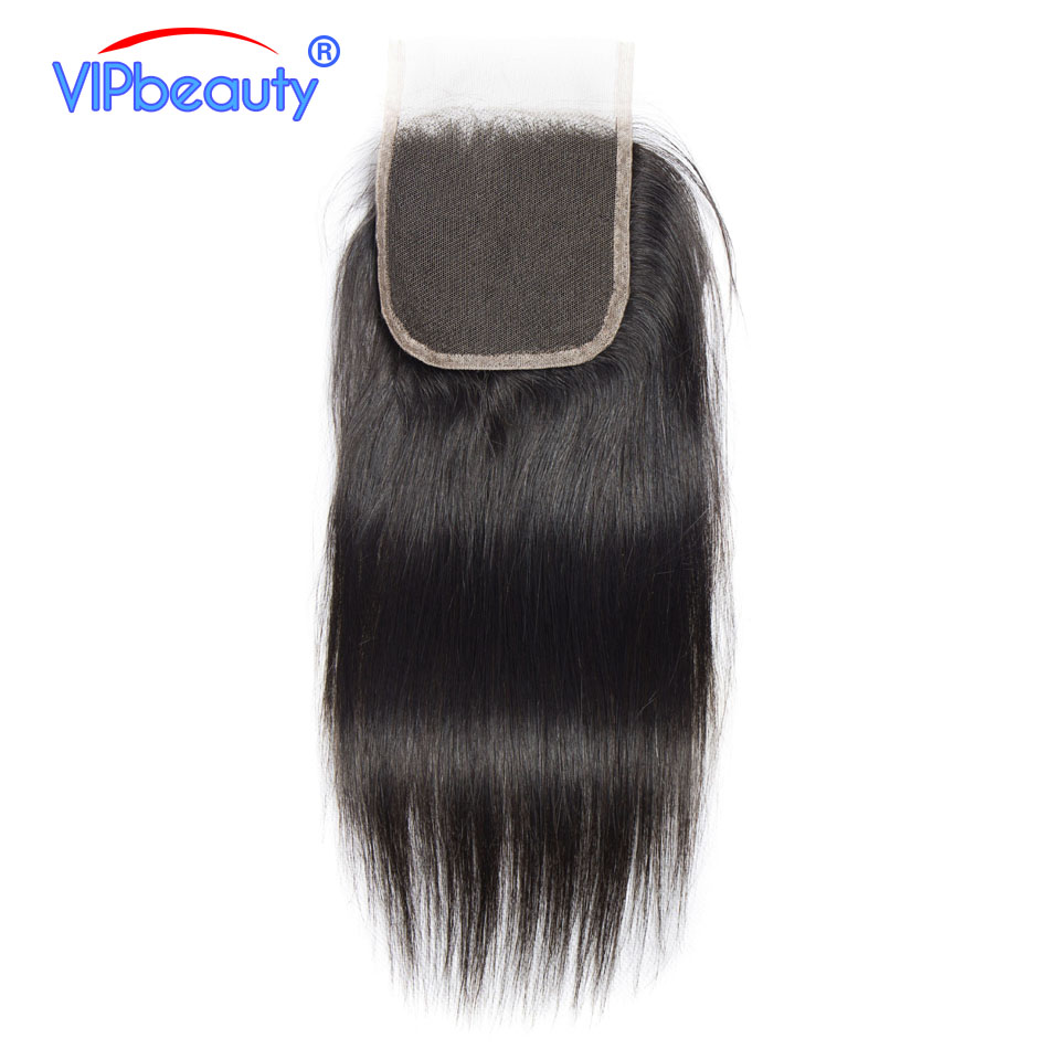 VIPbeauty Brazilian Lace Closure Straight Remy Hair Natural Color 100 Human Hair 130 density 4x4 Free