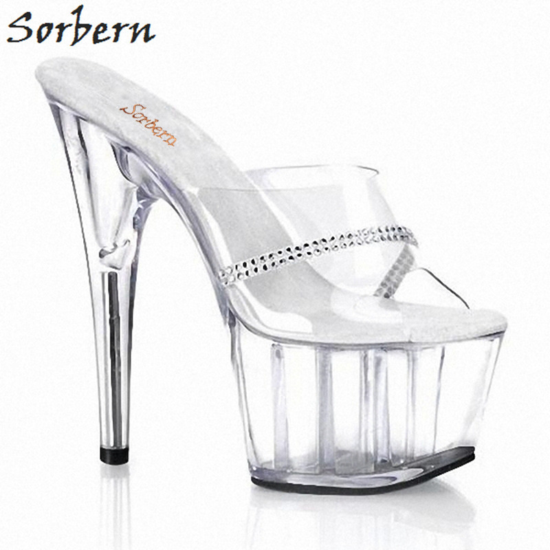 Sorbern Sexy Clear Pvc Summer Silver Crystals Platform Transparent Mules Blank Slides Chinese Size 35-46 Slides Clear Off White цена