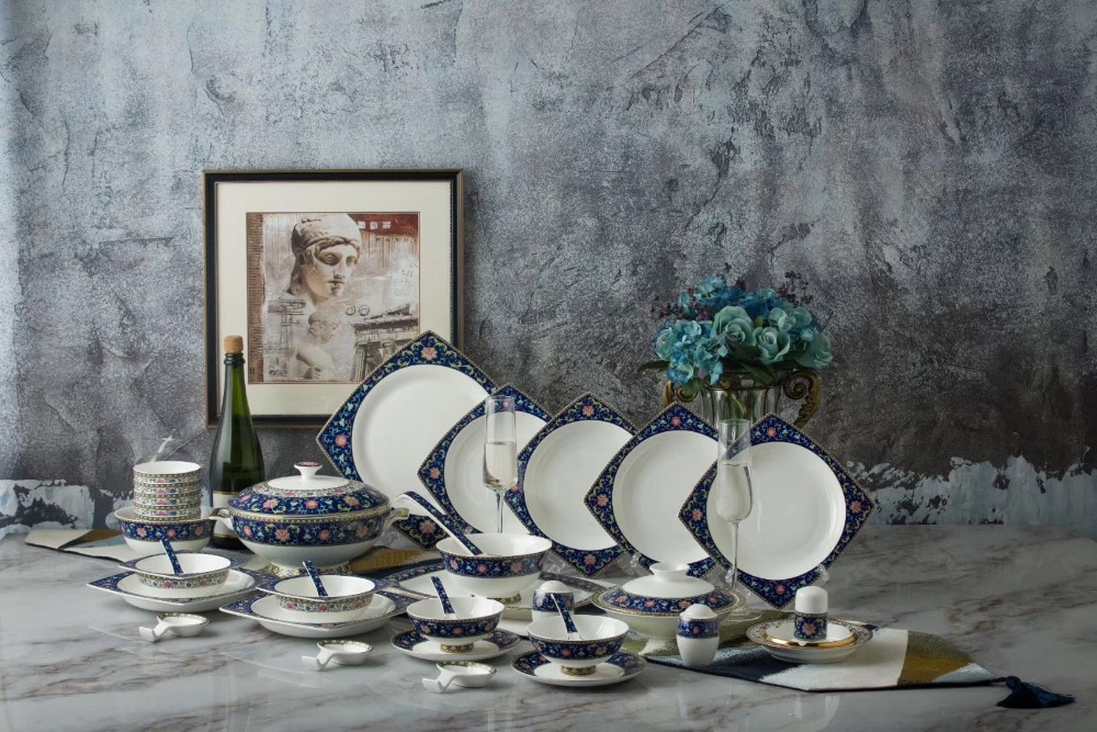 62pcs Enamel Porcelain Tableware Set /china Bone Dinner Set Dinner Set /dinnerware Set China Bone Tableware Set From Jingdezhen Home Appliance Parts Home Appliances