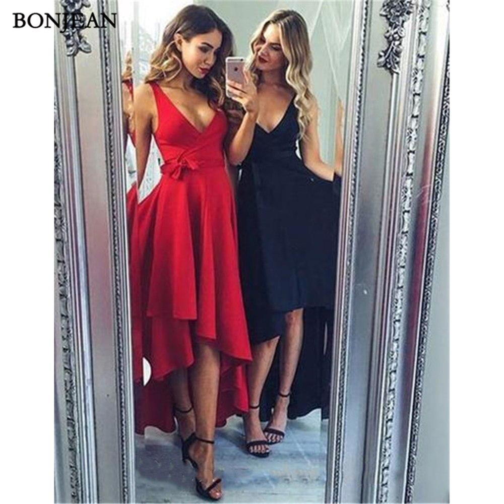 Simple Red Black   Evening     Dresses   A-Line Prom   Dress   High Low V-Neck Long   Evening   Gowns Custom Made Vestido de noche