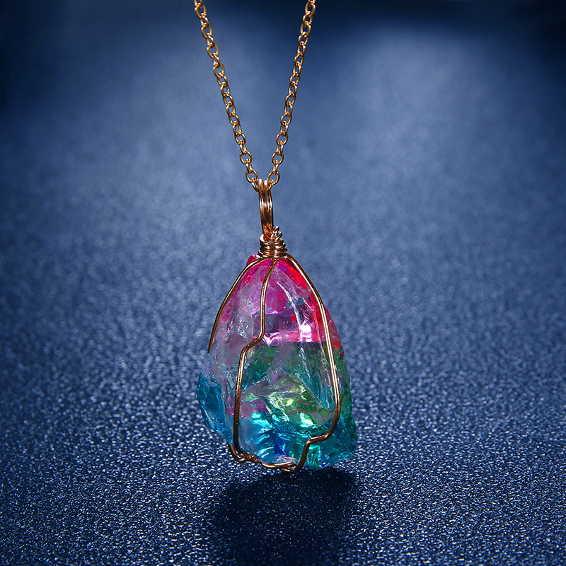 Rainbow Stone Colourful Necklace With Gold Chain