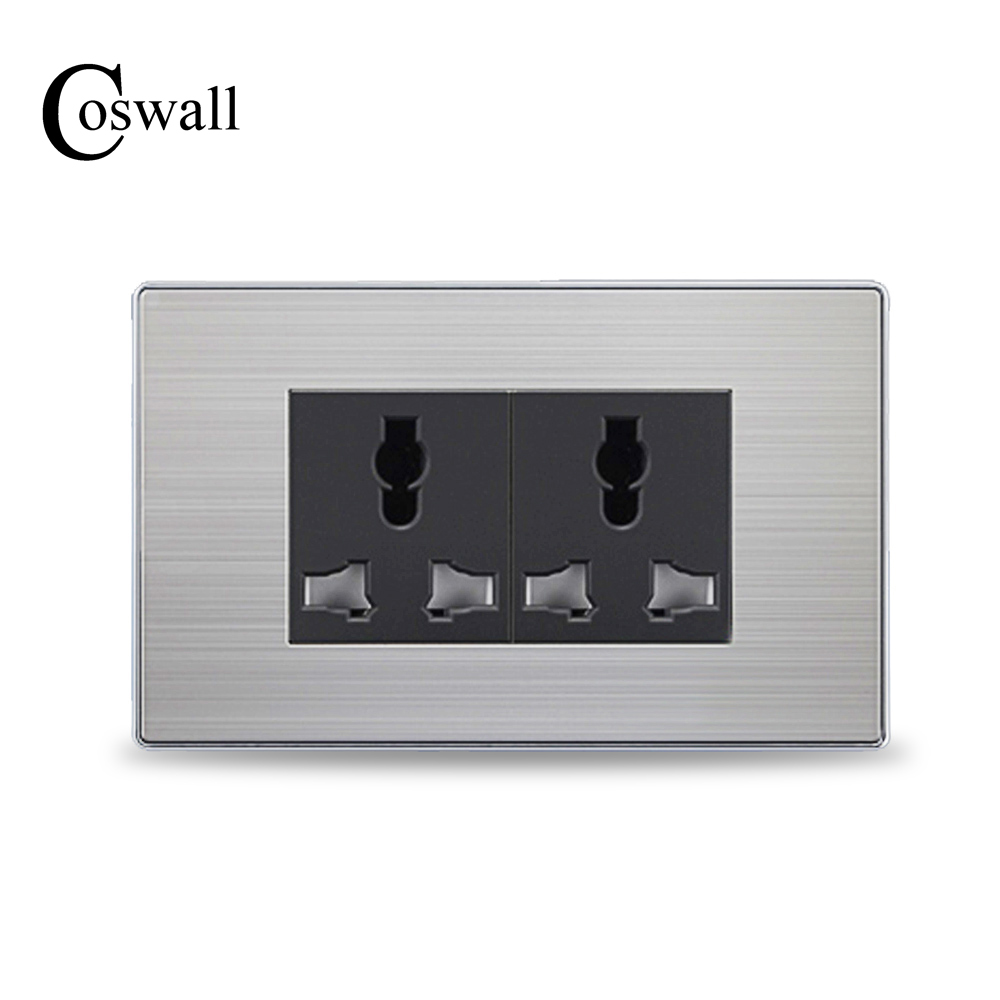 COSWALL 6 Hole Universal Socket Luxury Wall Power Outlet With Child Protective Door Stainless Steel Panel 118mm*72mm