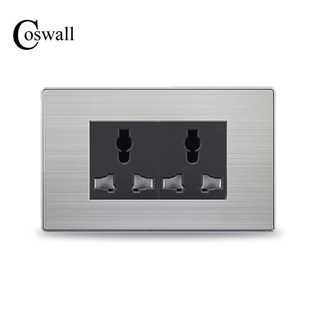 COSWALL 6 Trou Universel Prise De Luxe Mur Prise De Courant Avec Enfant De Protection Porte En Acier Inoxydable Panneau 118mm * 72mm