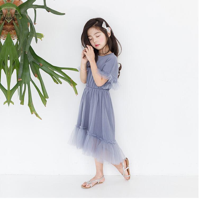 Teenager girls delicate simply styles mermaid tail dress children kids bat-wing sleeve summer ruffles splicing cotton dress 1