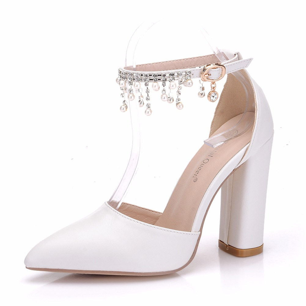 White Pearl Tassel Women Pumps Chunky Square Heel Pointed Toe Shallow Sandals for Fashion Girls Lady Party Banquet