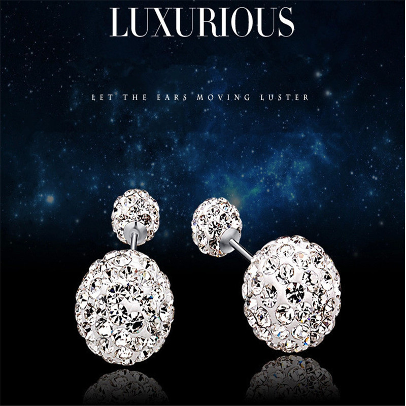 free shipping luxurious crystal sterling silver s925 clip on earrings for women, fine jewllery