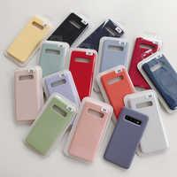 Liquide Silicone Téléphone étui pour samsung Galaxy S10 5G S10E S10 Plus Note 10 Cas D'origine Bébé-Peau Housse de Protection Complète