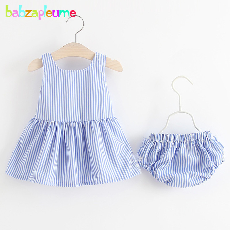babzapleume summer newborn 1st birthday outfit baby girls clothing sets stripe t-shirt+shorts infant clothes 2piece suits BC1490
