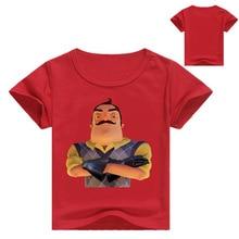 цена на Summer 2019 Kids Cartoon Hello Neighbor Game Pattern T shirt Baby Girls Summer Short Sleeve T-shirt Boys Casual Funny Clothes