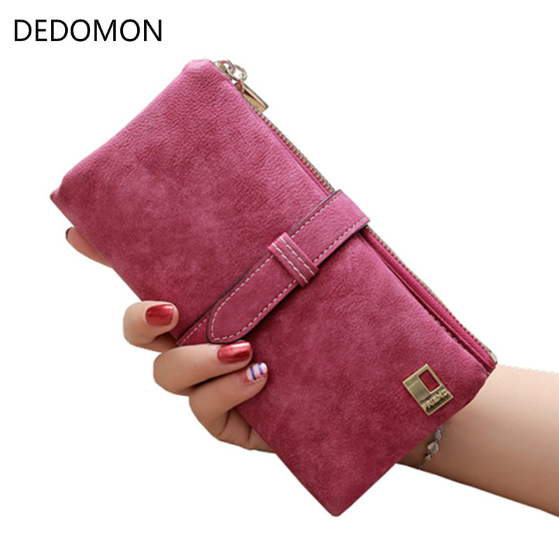 2018 Solid Drawstring Nubuck Leather Zipper Long Women Wallet Phone Bag Luxury Brand Wallets Designer Purse Card Holder Clutch women wallets drawstring nubuck leather zipper wallet women short purse retro tassels clutch