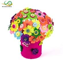 MYHOESWD DIY Felt Button Flower Craft Kits Kindergarten Kids Creative Toys Children Educational Handmade Gift Room Decoration