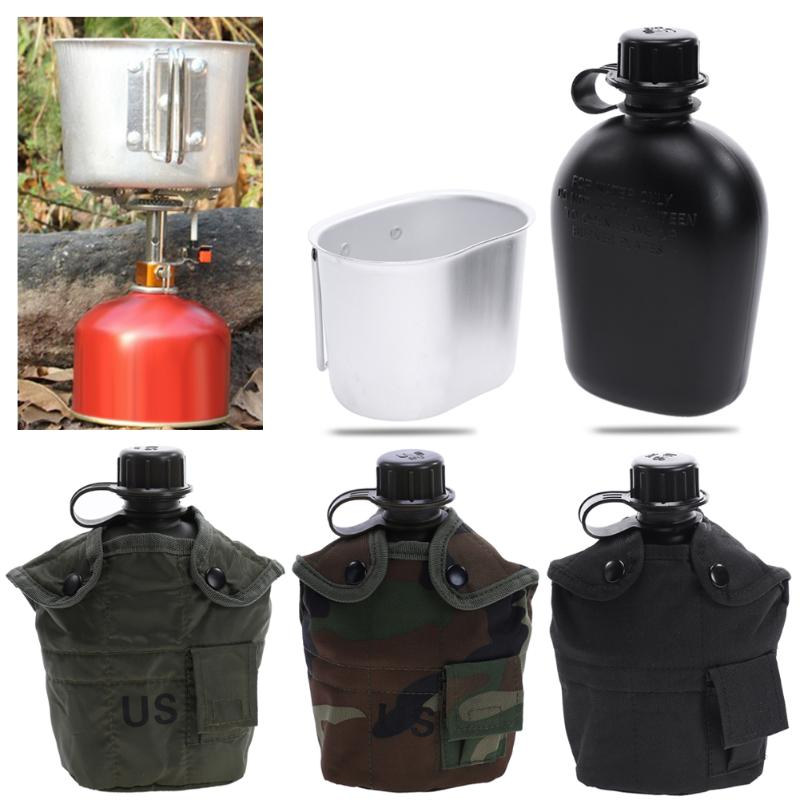 1L Camping Hiking Survival Kettle Heavy Cover Army Water Bottle Aluminum Cooking Cup US Military Canteen Hot Outdoor Tableware