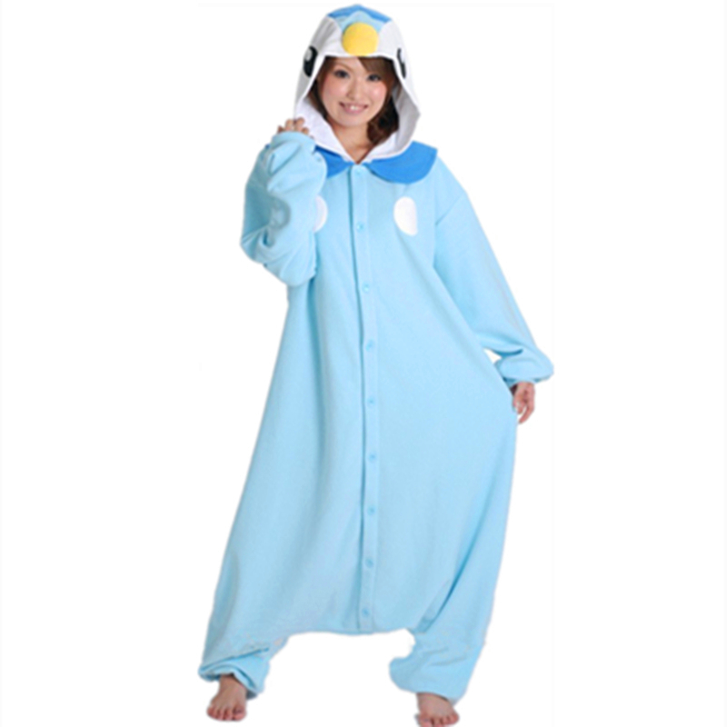 Cartoon anime blauwe pinguïn piplup cosplay hooded pyjama hoodie volwassen vrouwen unisex fleece rompers party kostuum halloween
