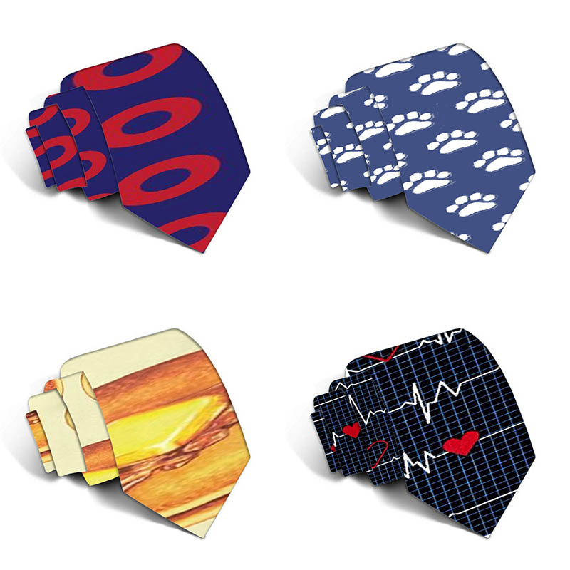 New Design Funny Neckties For Men Cartoon Novelty Fashion Ties Electrocardiogram Printed Neck Ties Wedding Gift 5LD24