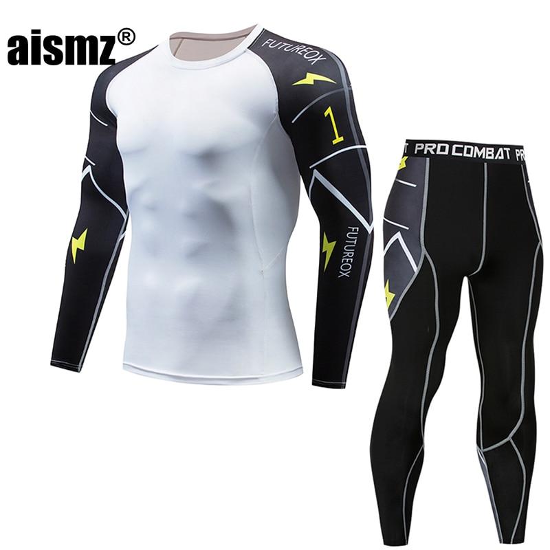 Aismz Moletom Masculino Tracksuit Men Long Fitness Set Tights Mens Compression Elasticity Quick Dry Breath T-Shirt Tactical Men