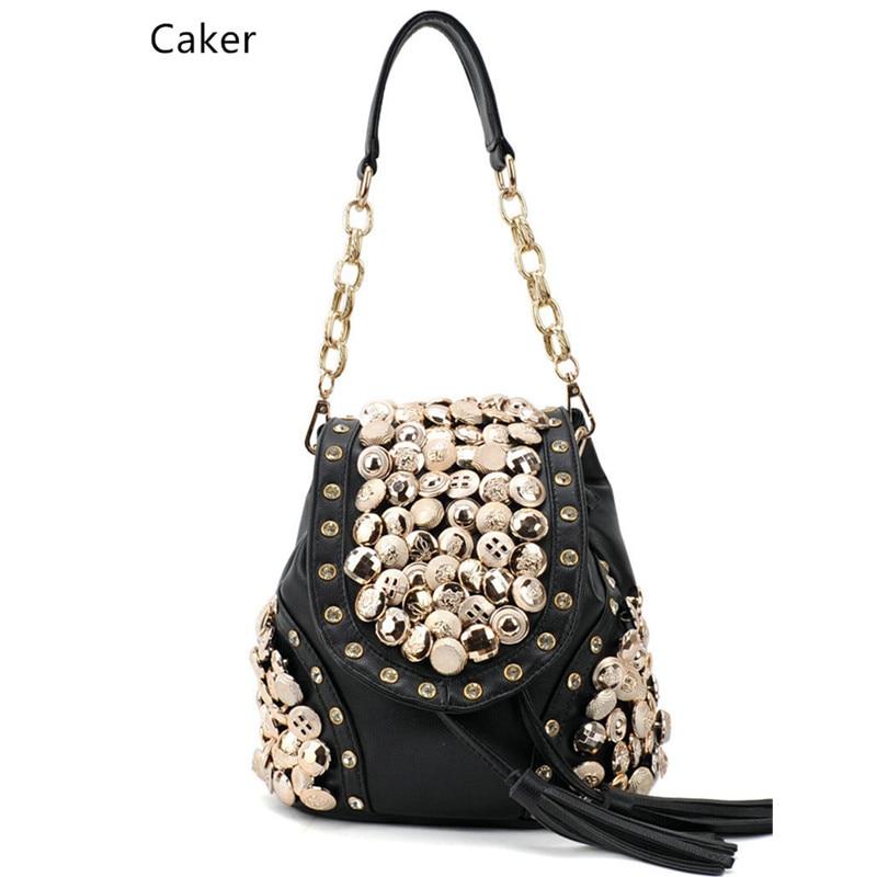 Caker Brand 2017 Fashion Women Top Nylon Backpack Female Black Beige Vintage Tassel Diamonds Shopping Shoulder Cross-Body Bags 2016 fashion women s backpack beige