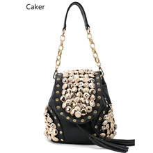 Caker бренд 2017 модные женские туфли Топ нейлоновый рюкзак женский черный бежевый Винтаж кисточкой бриллиантами торгового плеча кросс-Cuerpo Sacos