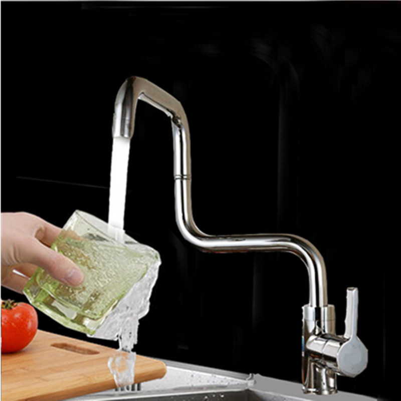 Fashion Kitchen Sink Faucet Brass Chrome Cold And Hot Water Faucet Single Handle Water Kitchen Tap Water Saving Nozzle micoe hot and cold water basin faucet mixer single handle single hole modern style chrome tap square multi function m hc203