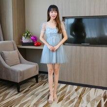 Blue Grey Colour Mini  Dress Bridesmaids Dresses for Women Wedding Guest Party