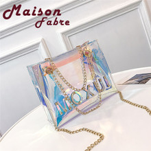 HB INS Hot Women s Fashion Laser bags Flap Bag Patent Leather Handbag Removable chain Crossbody