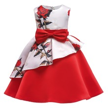 Fashion Girls Christmas Dress Baby Kid Floral Ball Gown Party Wedding Princess New Year Kids Dresses for
