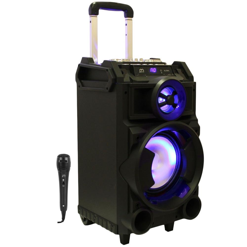 Bluetooth Speaker Karaoke Portable With Microphone MP3 FM Radio High Power Speaker With Wheel