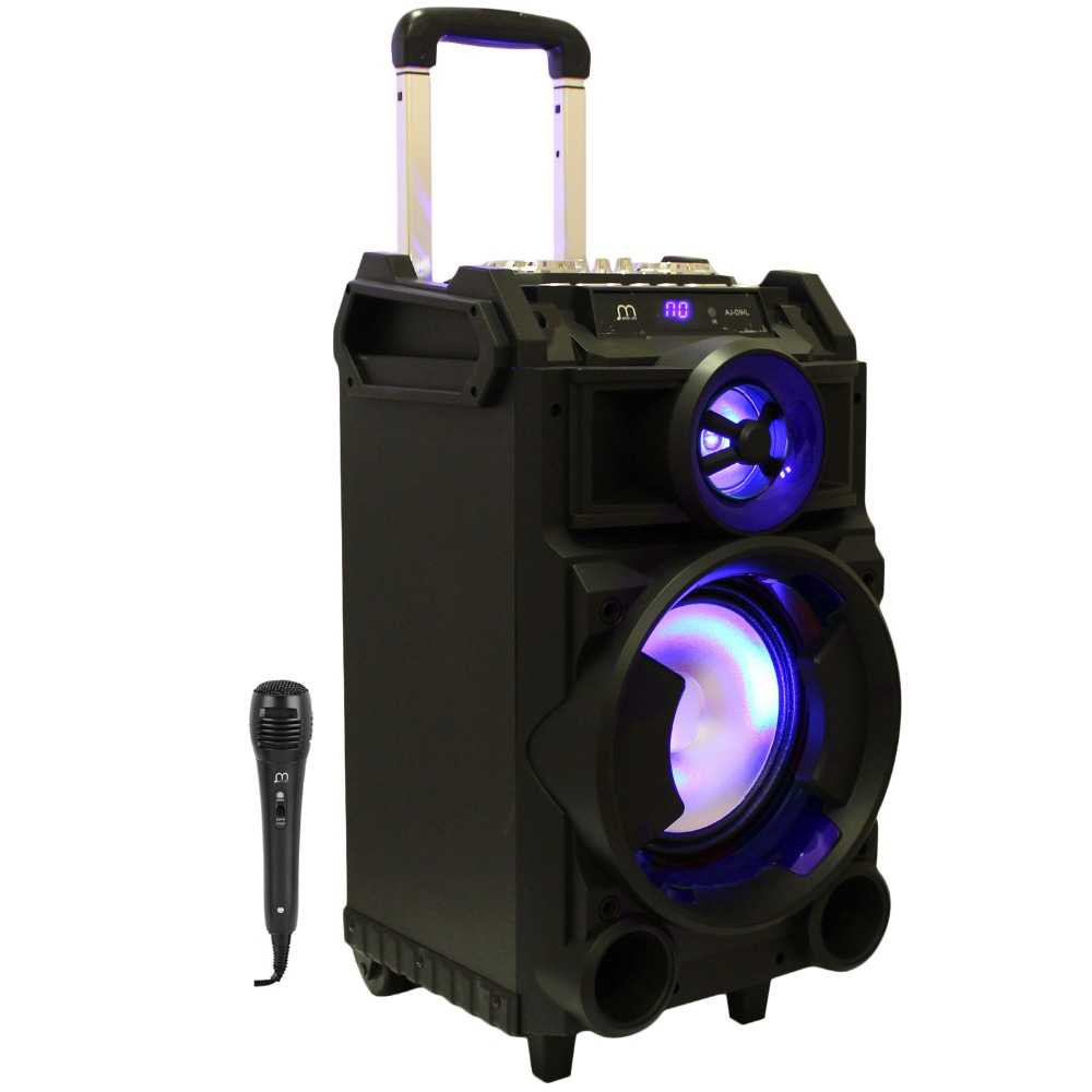 Bluetooth Speaker Karaoke Portable with Microphone MP3 FM Radio High Power Speaker with Wheel Trolley for Party