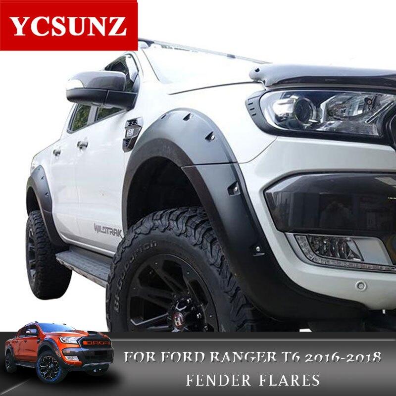 2016-2018 Poche Rivet Style Fender Flare Pour Ford Ranger Wildtrak Accessoires Noir Garde-Boue Pour Ford Ranger T7 Partie ycsunz