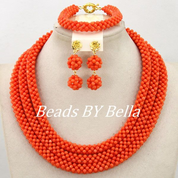 Handmade Orange Coral Nigerian Wedding Beads Necklace Set Costume Bridal Jewelry African Beads Jewelry Set Free Shipping ABY942Handmade Orange Coral Nigerian Wedding Beads Necklace Set Costume Bridal Jewelry African Beads Jewelry Set Free Shipping ABY942