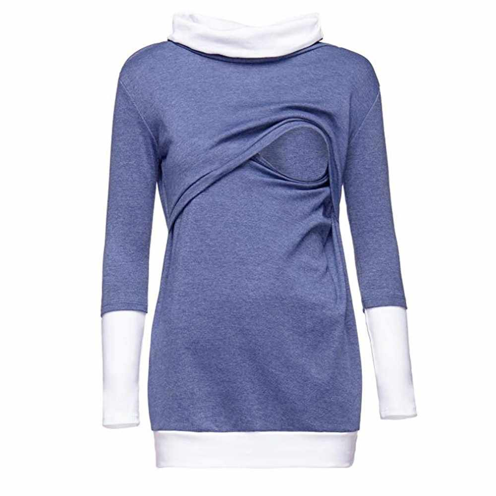 5de8a893ad8d0 ... Women Colorblock Maternity Clothes Mons Nursing Wrap Tops Long Sleeve  Double Layer Cap Shirt Breastfeeding Clothing ...