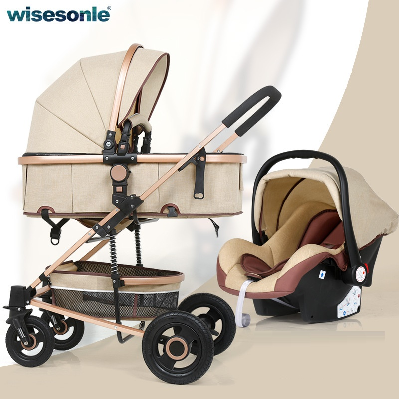 Lightweight Stroller Baby Car High-Landscape for 0-36-Months 3-In-1