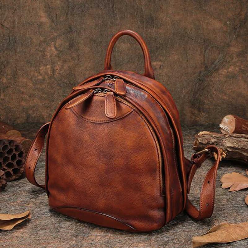 2b9dcc42d2af ... Путешествия открытый рюкзак из натуральной кожи Для женщин рюкзак сумки  на плечо ручной работы кожаный рюкзак ...