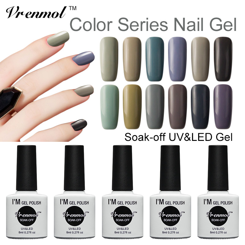 Vrenmol Soak Off Gel Polish UV Nail Varnish 12 Series Color Shining Color UV Gel Need Base And Top Coat 12pcs lot green series uv gel nail polish led lamp gel lacquer gel polish vernis semi permanent gel varnish nail primer base top