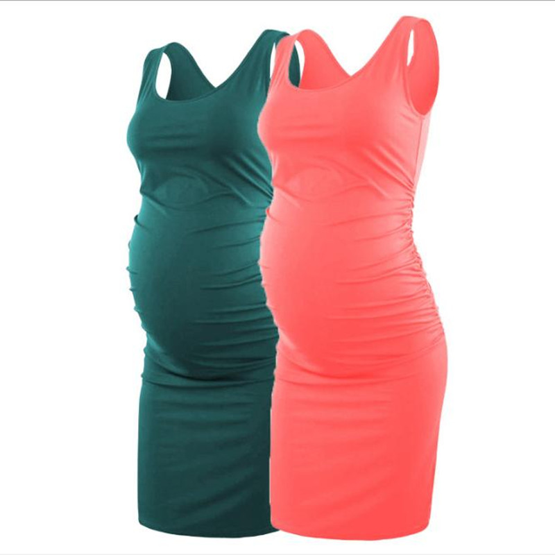2019 hot sale maternity dress woman solid color sleeveless sexy wrap skirt pregnancy side fold vest dress in Dresses from Mother Kids