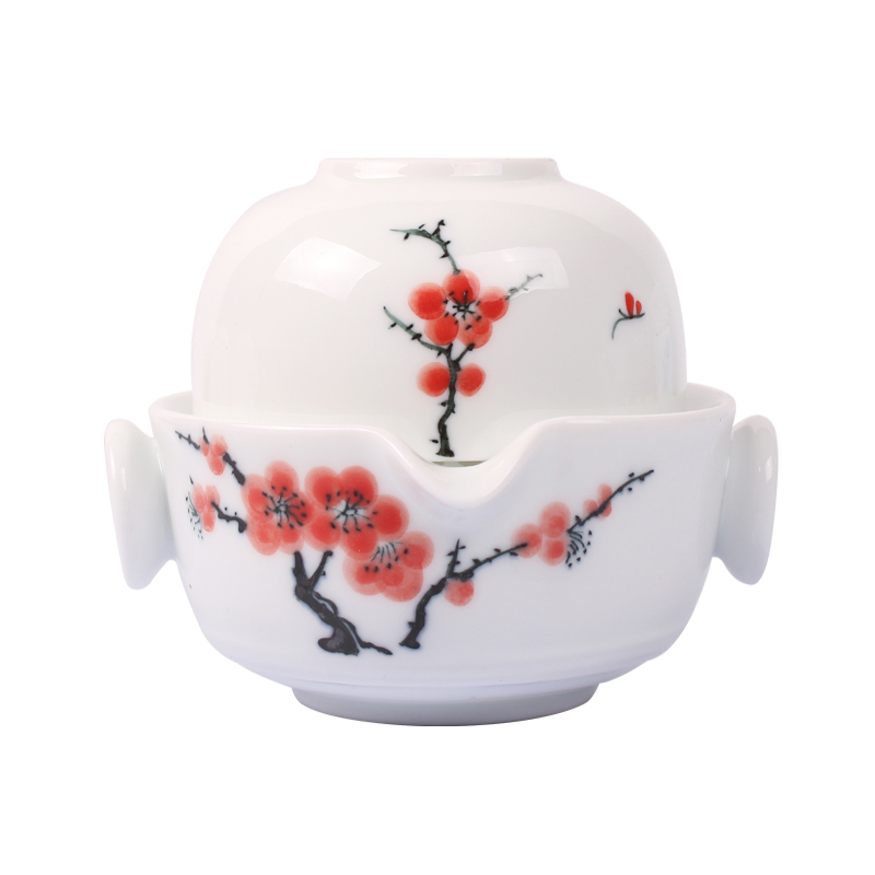Ceramics Hand Painted Kung Fu Tea set Include 1 Pot 1 Cup, Beautiful and easy teapot kettle.Coffee Cup set elegant gaiwan
