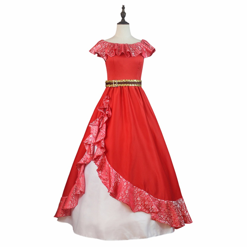 Princess Elena Dress Costume Cosplay Elena of Avalor Red Dress Costume Cosplay Version 2 for Halloween Carnival Party