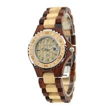 BEWELL Wood Watch  Women Quartz Watch Brand Luxury Stainless Steel Bezel Wristwatch Watches Sandalwood Relogio Feminio 100BL