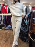 Шерсть Костюмы 2018 в осенние и зимние и высокое качество кашемировый свитер костюм Половина рукавами вязаный комплект из двух предметов жен