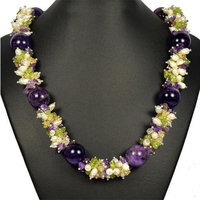 Handmade Natural Amethystes,Pearls,Citrines Multiccolor 19'' Necklace,Perfect Women Chirstmas Gift Pearl Jewellery